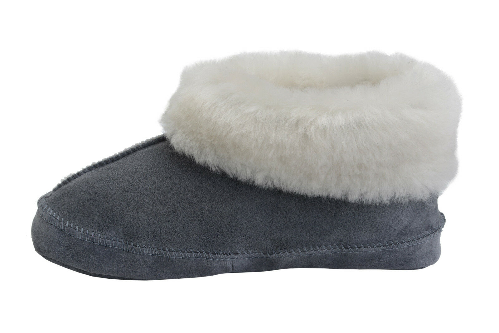 New Womens/Mens Boot SheepWool Fleece House Slippers Sheepskin Grey All Sizes