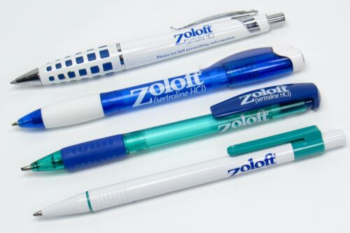 Lot of 4 Zoloft Drug Rep Pharmaceutical Pens 1 Metal 1 Lecce Italy 1 Translucent