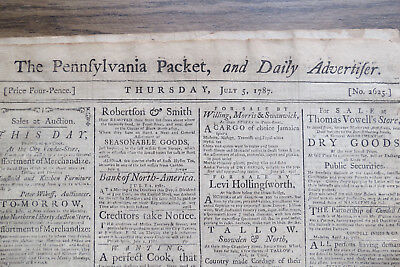 (JULY 7, 1787 THE PENNSYLVANIA PACKET & DAILY ADVERTISER NEWSPAPER)