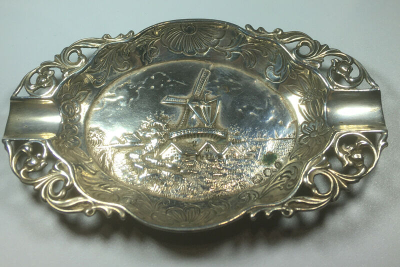 Antique 1926 European Sterling Silver Repousse Windmill Scenery Ashtray M96