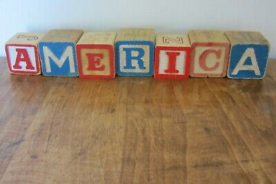 Vintage ABC Alphabet Blocks- America Memorial 4th of July Home Decor