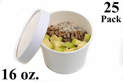 25 16 Oz. White Paper Round Food Soup Containers With Vented Lids Recyclable