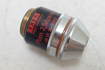Zeiss West Germany Plan 25008 2.50.08 Pol 160- Microscope Objective