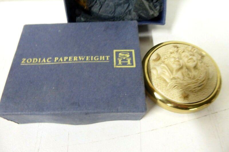 VINTAGE SH STUART HOUGHTON ENGLAND EMBOSSED CAST ZODIAC PAPERWEIGHT BRASS