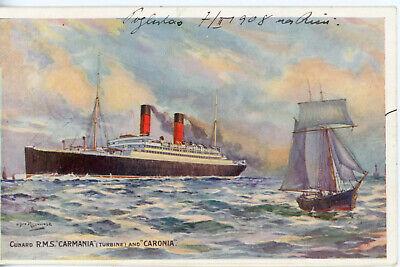 Cunard Line's 'Pretty Sisters' CARMANIA and CARONIA of 1905 (Rosenvinge artwork)