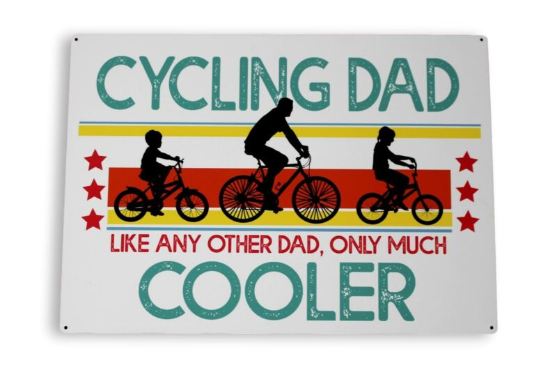 Large+Cycling+Dad+Gift+Metal+Wall+Hanging+Sign