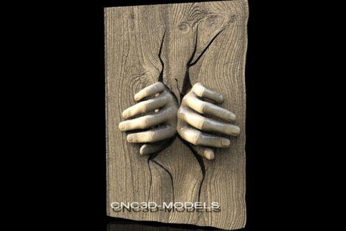 3D Model STL for CNC Router Engraver Carving Artcam Aspire Hands Fingers f406