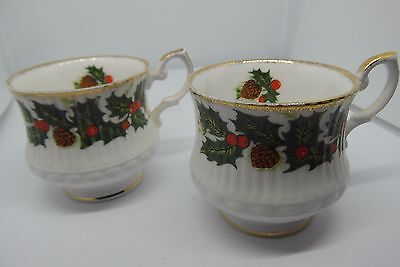 Queens Christmas Holly Coffee Cups x 2 Fine Bone China British
