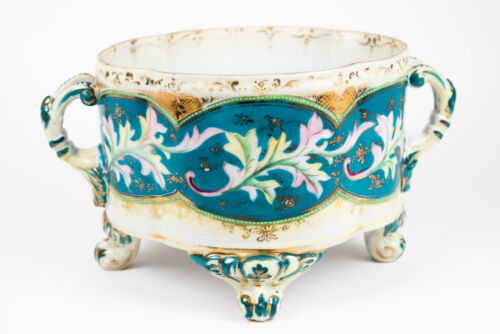 FRENCH HAND PAINTED PORCELAIN HANDLED & FOOTED GILT CENTERPIECE BOWL