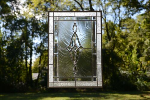 "19"" x 27""  Stunning Handcrafted All Clear stained glass Beveled window panel"