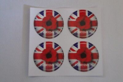 """12 POPPY STICKERS CROWN GREEN BOWLS  REMEMBRANCE DAY   1""""  LAWN BOWLS"""