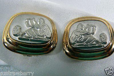 Gold & Silver Tone Roman or Greek Goddes Music Scene Clip on Earrings - Greek Goddes