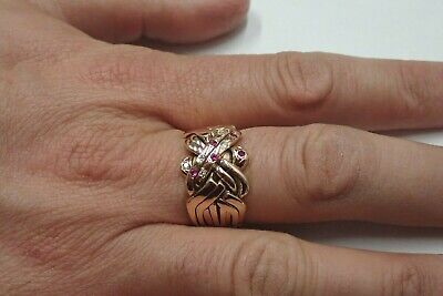 9ct Rose Gold Puzzle Ring - Solid 8 Band - Size X - 14 grams - Ruby & Diamond