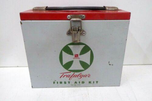 VINTAGE TRAFALGAR HEAVY METAL FIRST AID BOX TRAVEL CASE MEDICAL KIT PORT