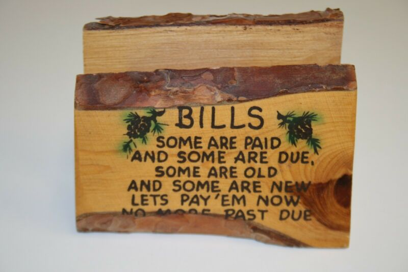Vintage Wooden Grand Canyon AZ Collectible Hand Made Funny Bills Letters Holder
