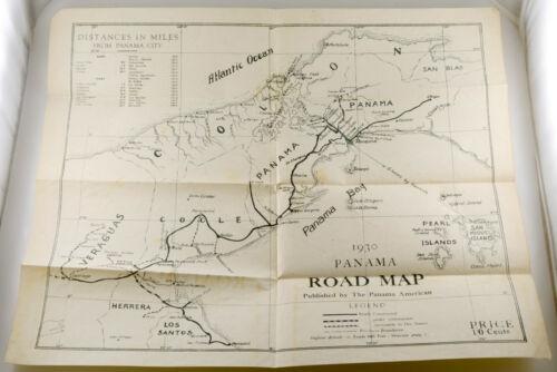 "1930 Panama Road Map Panama City American Vintage 18.75"" x 15.5"""