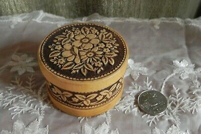 Trinket Box Birch Bark Round Small Storage Box w/ Lid Hand Made Wood Beresta Round Wood Box