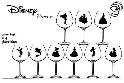 x9 Disney princess inspired glass stickers child's party cup decal vinyl