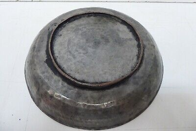 ANTIQUE PERSIAN HAND BEATEN COPPER BOWL SILVER TIN WASH ENGRAVED EASTERN PATTERN