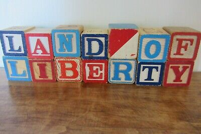Vintage ABC Alphabet Blocks- Land of Liberty  Memorial 4th of July Home Decor