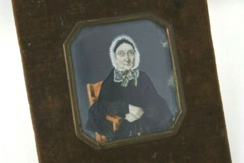 1850's Miniature Hand Painted Portrait FINELY Painted & Signed
