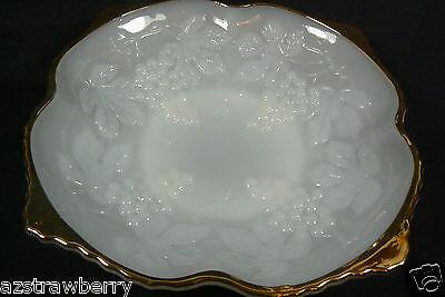 Anchor Hocking White Milk Glass Grape Pattern Decorative Gold rim  Bowl Dish  ()