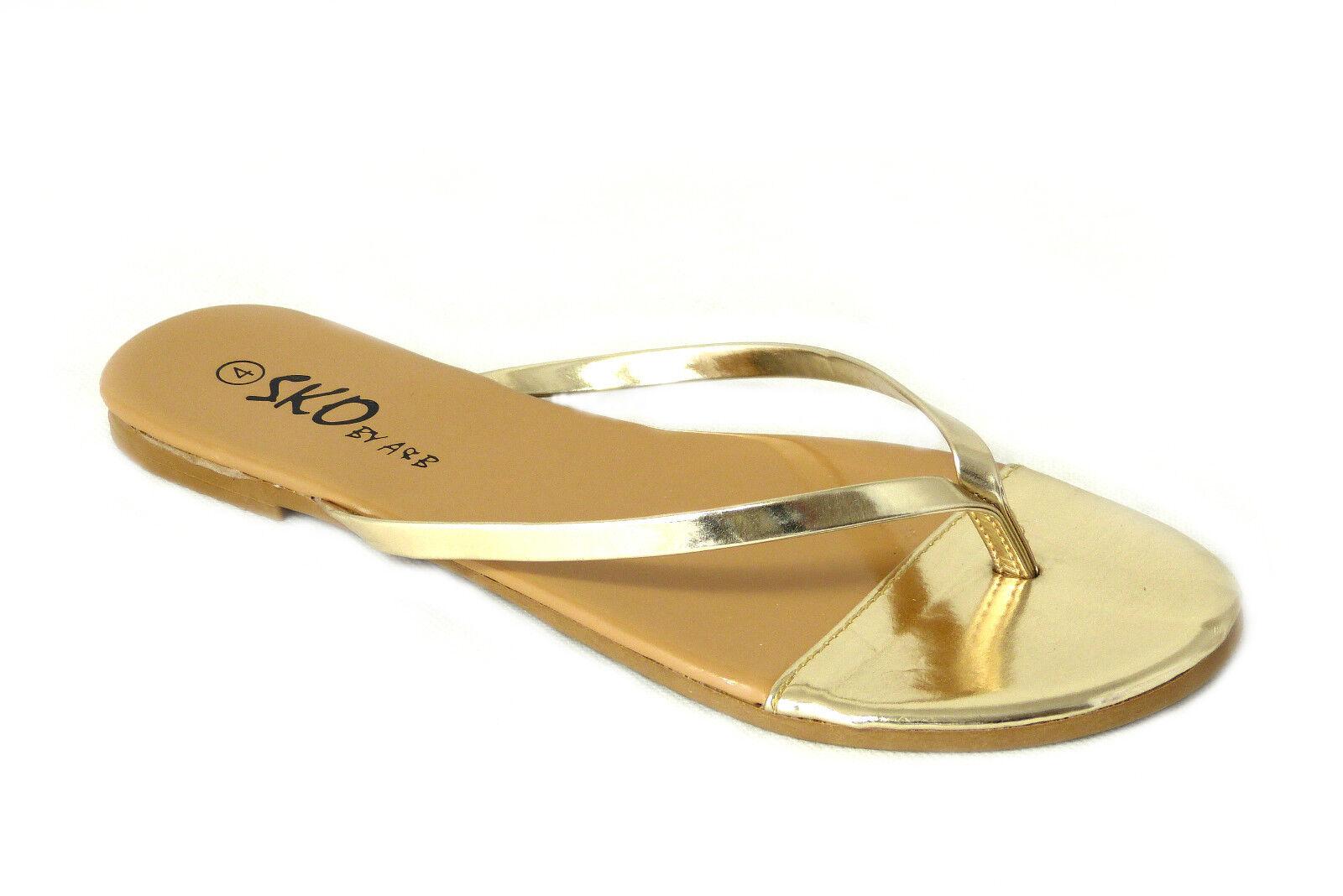Womens Ladies Flat Wedge Toe Post Summer Beach Sandals -8199