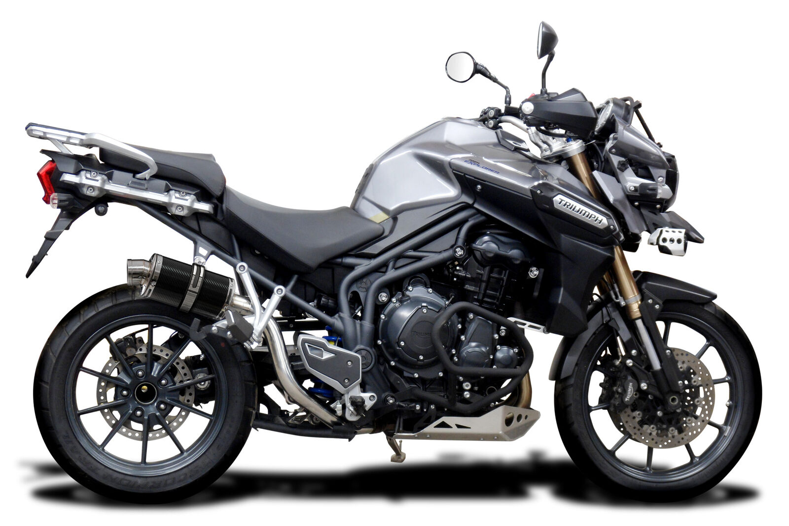 Delkevic Aftermarket Slip On compatible with Triumph Tiger Explorer 1200 DS70 9 Carbon Fiber Oval Muffler Exhaust 12-16