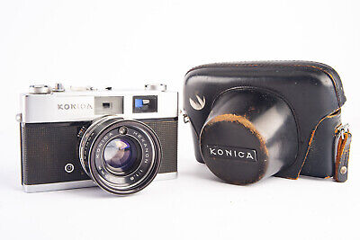 Konica Auto S2 35mm Rangefinder Camera With Hexanon 45mm F/1.8 Case TESTED V18 - $89.99