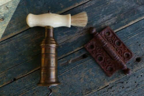 antique bone brass circa 1850 corkscrew thomasons mechanism w/ brush handle