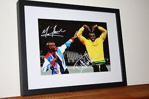 MO FARAH & USAIN BOLT SIGNED A4 GLOSSY PHOTO MOUNTED IN 12