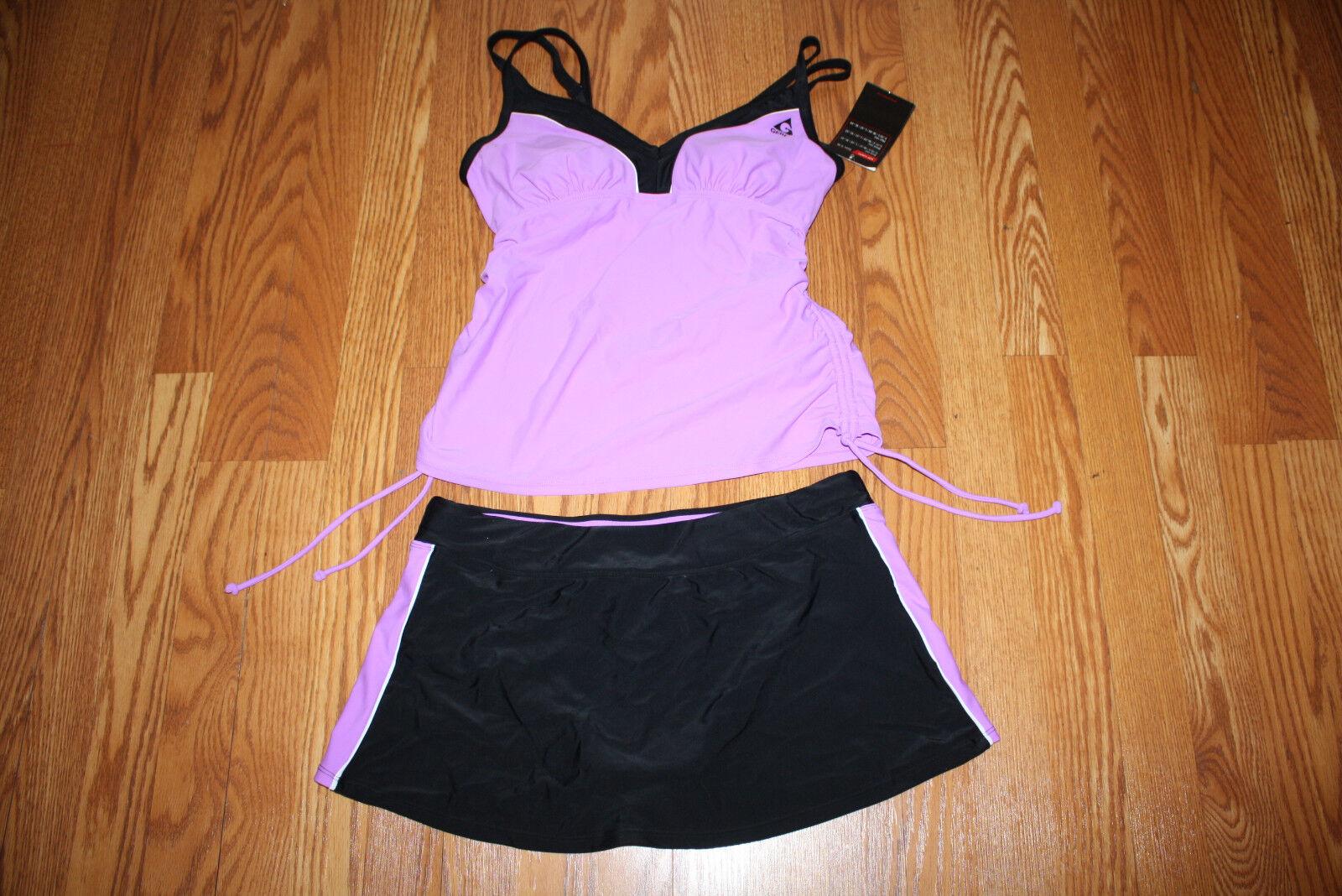 Womens Gerry Orchid Purple Black Two Piece Tankini Swim S...