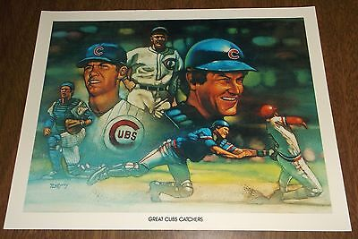 1984 Unocal Chicago Cubs Illustration Print - Great Cubs Catchers - Hartnett