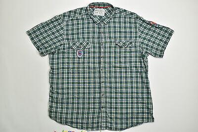 Men's Nautica Button Down/ Button Up Big & Tall 4XLT Green Plaid Short Sleeve Co