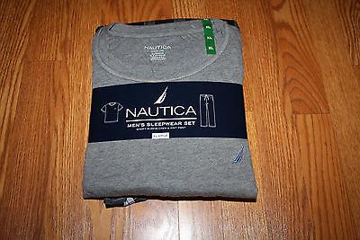 NWT Mens NAUTICA Sleepwear Set Gray SS Shirt Black Gray Plaid Flannel Pants M