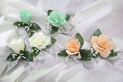 Peach Rose Boutonniere - Mint~Peach~Ivory~Silver~Open Rose~Bud~Boutonniere~Corsage~Prom~Party~Quinceanera