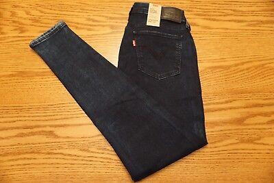 NWT WOMENS LEVI JEANS 535 Multiple Sizes Super Skinny Mid Rise Dark Blue Studded Blue Stud Skinny Jean