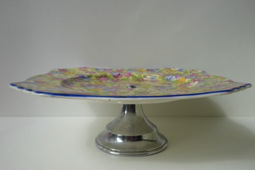 VINTAGE SWEET PEA  FLORAL ALL OVER CHINTZ COMPORT PLATE
