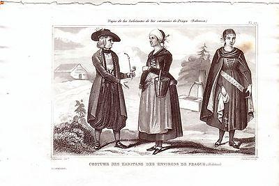 Tschechien Prag Böhmen Trachten Kostüme Orig Stahlstich 1850 Pardinel Cechy