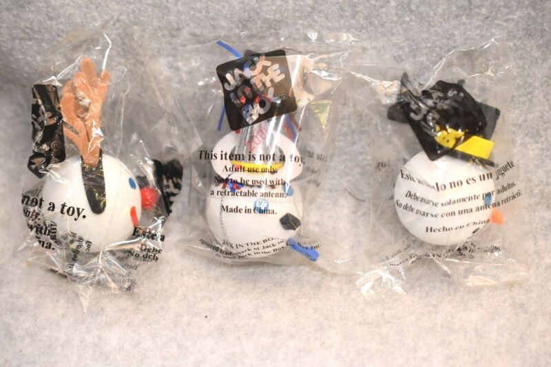 3 Jack In The Box Restaurant Jack Head Car or Truck Antenna Toppers - MIP Unused