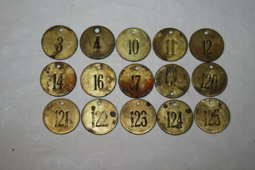 Vintage / Antique Brass Cattle Tag Lot of 15 #1