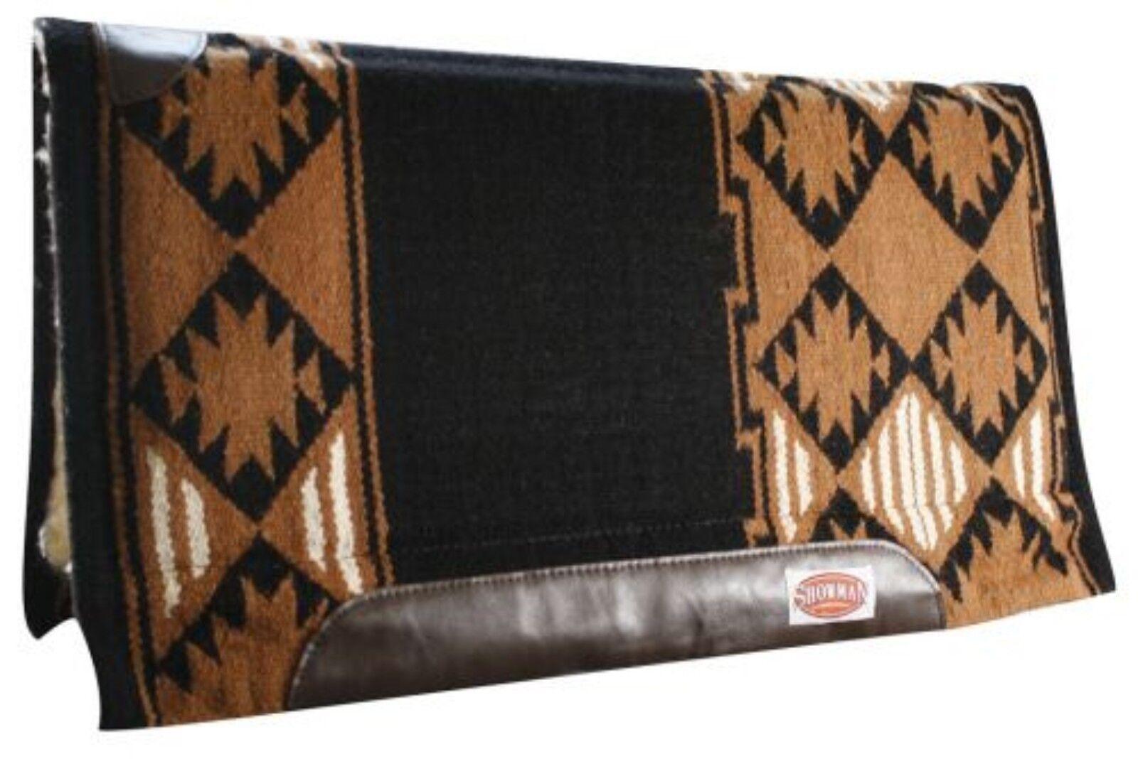 "Navajo Western Saddle Pad NZ Wool Thick Fur Padding back 34/"" x 36/"" Bull embroide"