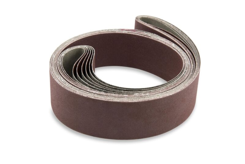 2 X 72 Inch 120 Grit Flexible Aluminum Oxide Multipurpose Sanding Belts, 6 Pack