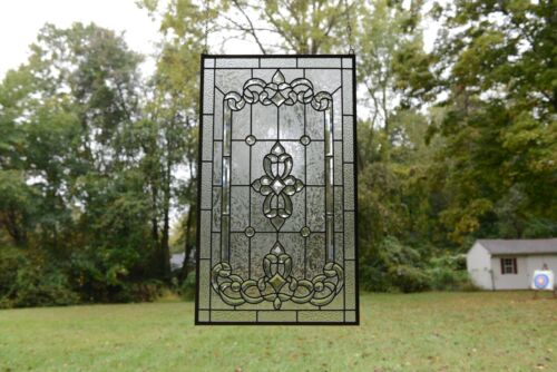 """Stunning Handcrafted All Clear stained glass Beveled window panel, 20"""" x 34.25"""""""