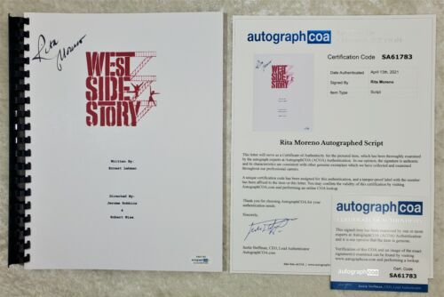 "Rita Moreno ""Anita"" Autograph Signed ""West Side Story"" Movie Script 1961 ACOA"