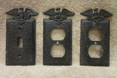 Lot Of 3 Edmar Hammered Metal Switch Outlet Cover American Eagle Patriotic USA