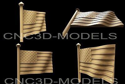 3d Stl Model For Cnc Router Engraver Carving Artcam Aspire Usa Flag America Af19