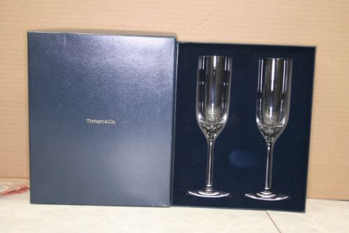 Tiffany and Co. Crystal Champagne Flutes Set With Original Box