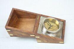 Clock in Wood Box Silver Metal Gold Face India Brass Trim Square Box Quartz Batt