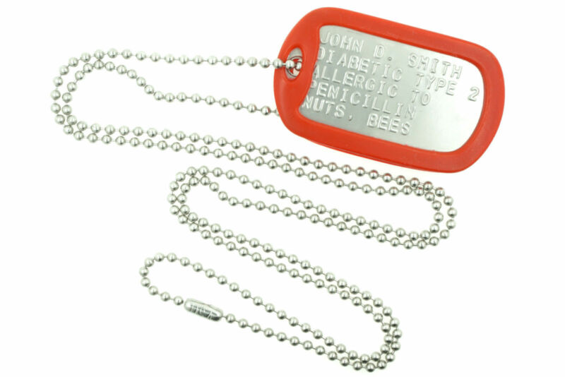 Custom Embossed Medical Info Mililtary ID Stainless Steel Dog Tag Necklace